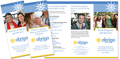 Abrigo Centre Senior Services, Violence Against Women and Youth Services Brochures
