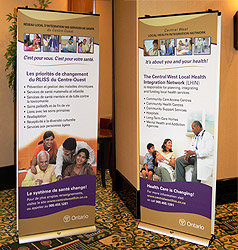 Central West Local Health Integration Network stand-alone double sided bilingual banners