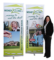 Money2Close stand-alone retractable banners