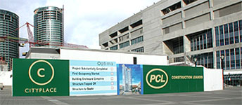 PCL Constructors Interactive Hoarding for City Place,Optimum Tower, Toronto
