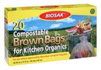 Ralston BIOSAK Compostable Brown Bags for Kitchen Organics