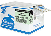 Ralston Industrial Transparent Garbage Bags on roll form with dispenser