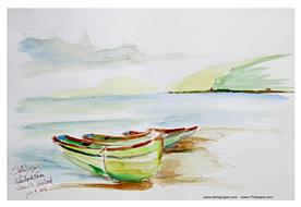 Stella Jurgen Sketch: House Boats, Waterville, Ireland