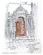 Stella Jurgen Sketch: Igreja Sao Sebastiao, Ponta Delgada, Azores, Portugal