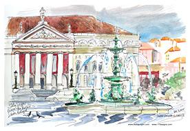 Stella Jurgen Sketch: Praca do Rossio, Lisbon, Portugal