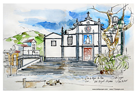 Stella Jurgen Sketch: Vila Agua de Pau, Sao Miguel, Azores, Portugal