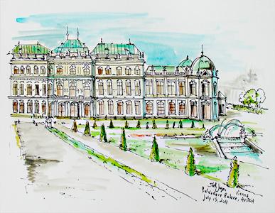Stella Jurgen - Urban Sketch - Belvedere Palace, Vienna, Austria