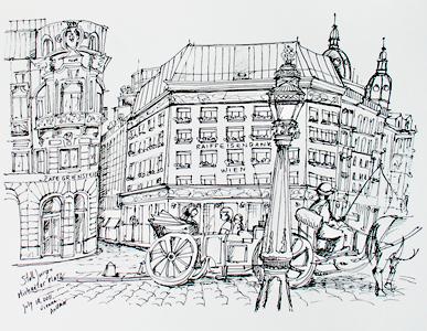 Stella Jurgen - Urban Sketch - Michaele Platz, Vienna Austria