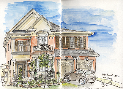 Stella Jurgen - House, Oakville - Pen and Watercolours