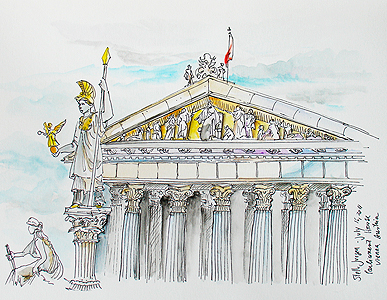 Stella Jurgen - Urban Sketch - Parliament House, Vienna, Austria
