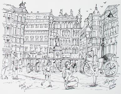 Stella Jurgen - Urban Sketch - Peters Platz, Vienna, Austria