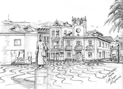 Stella Jurgen - Urban Sketch -  Praça 5 de Outubro, Cascais, Portugal