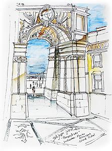 Stella Jurgen - Urban Sketch - Rua Augusta, Lisbon, Portugal