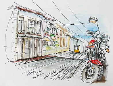 Stella Jurgen - Urban Sketch - Rua Da Bica, Lisbon, Portugal