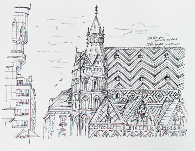 Stella Jurgen - Urban Sketch - Stephandon Cathedral, Vienna, Austria