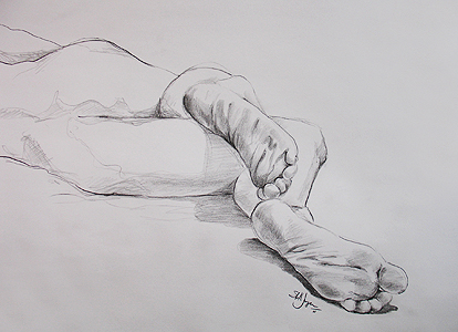 Pencil Sketch of Feet
