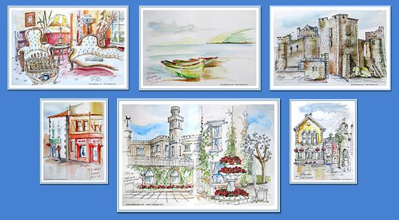 postcard design, illustration, sketches, urban sketches, mailers, flyers