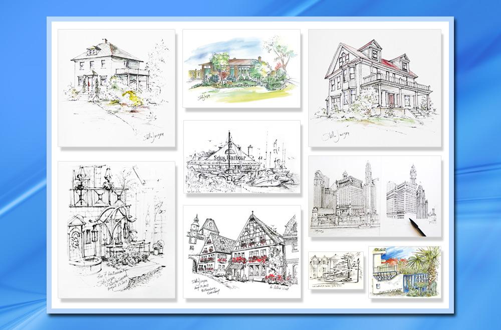 architecture illustrations, real estate illustrations