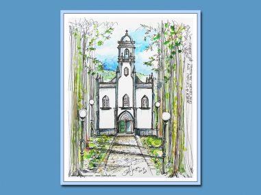 Stella Jurgen Sketch: Igreja Sao Nicolau Cidade, Azores, Portugal
