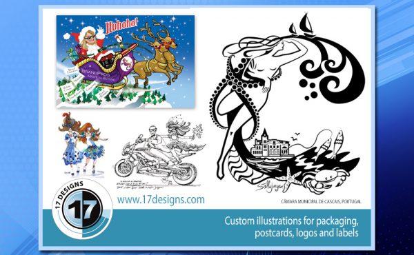 packaging labels, postcards, illustration