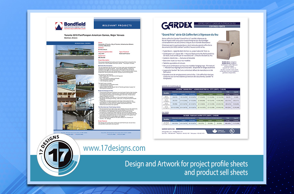 project sheets, profile sheets, sell sheets