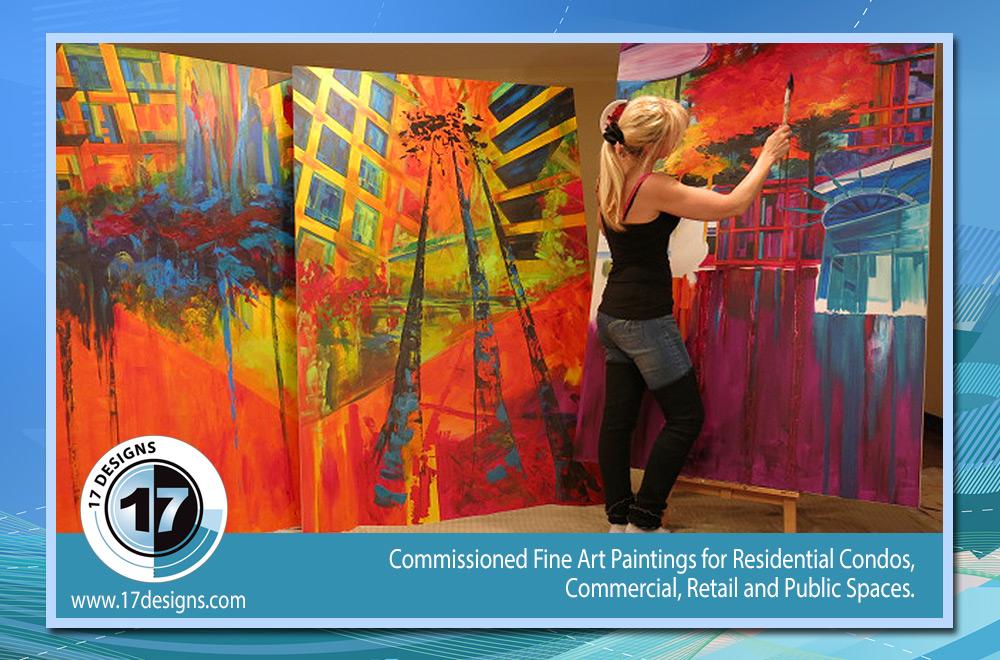 public art, paintings, custom painting orders, condominium decor, commissioned fine art