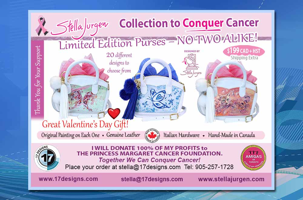 limited edition purses, artistic purses, conquer cancer, Stella Jurgen's purses