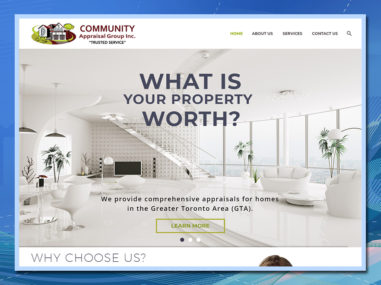Community Appraisal Group, Home Page, real estate appraiser, WordPress website, website development, website design
