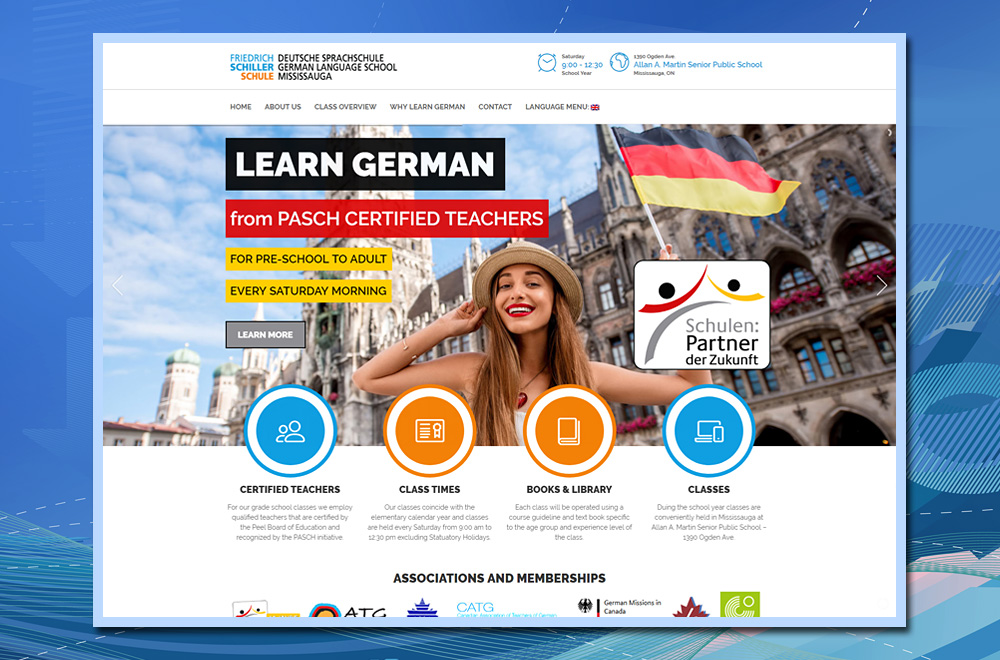 Friedrich Schiller Schule, wordpress website, dual language website, teaching website, language school website