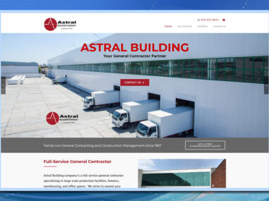 WordPress website, Astral Building Company